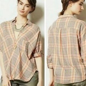 ANTHROPOLOGY HOLDING HORSES PLAID WRAP FRONT TOP